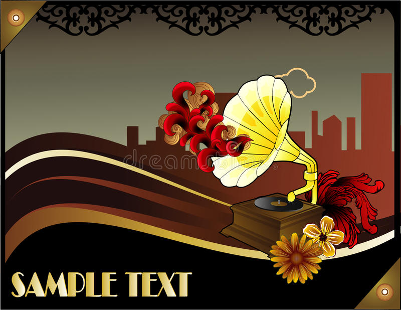 r tro affiche de musique d 39 art d co illustration de vecteur illustration du texture floral. Black Bedroom Furniture Sets. Home Design Ideas