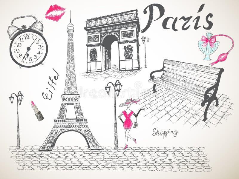 Rétro affiche de Paris illustration de vecteur