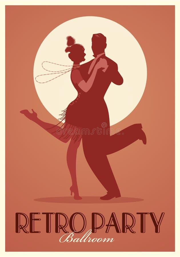 Rétro affiche de partie Silhouettes des vêtements de port de couples dans le style des années '20 dansant Charleston illustration de vecteur