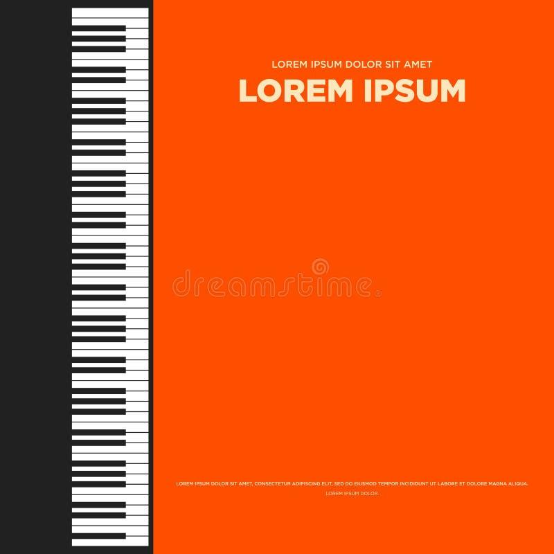 Rétro affiche de vintage de piano, conception plate de fond de couverture de livre illustration stock