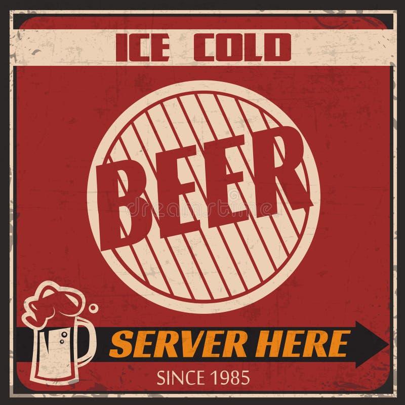 Rétro affiche glacée de bière illustration de vecteur