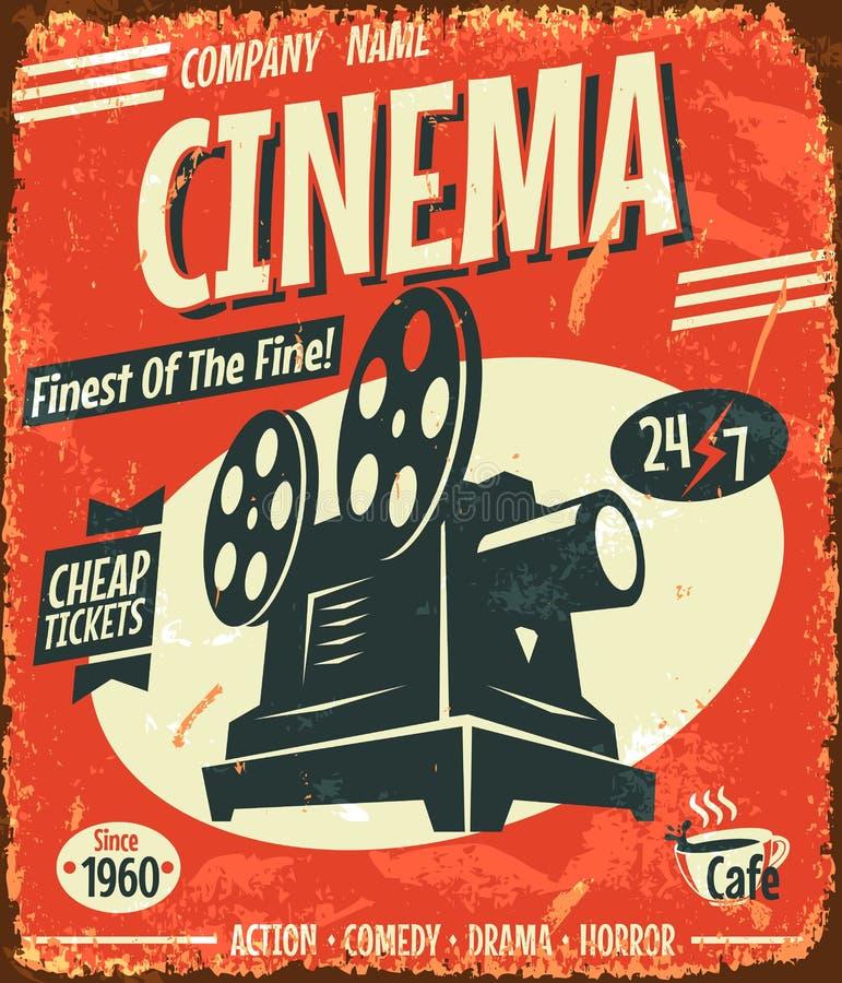 Rétro affiche grunge de cinéma illustration stock
