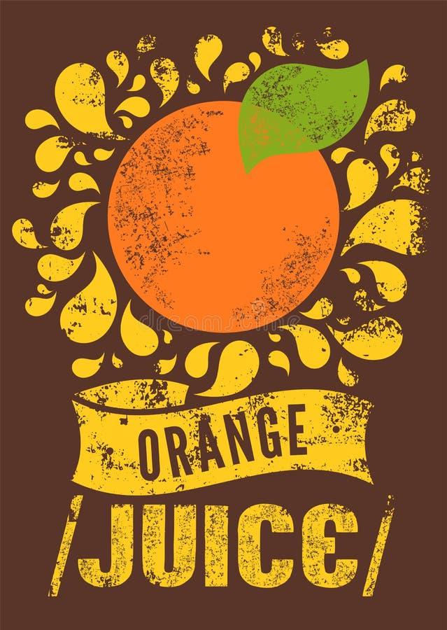 Rétro affiche grunge typographique de jus d'orange Illustration de vecteur illustration libre de droits