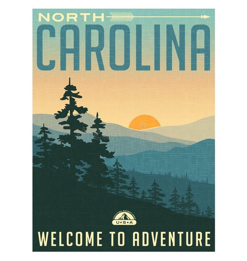 Rétro affiche ou autocollant de voyage de style La Caroline du Nord illustration stock