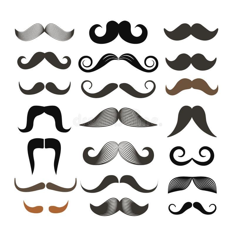 Rétro agrafe-art différent de moustache de style illustration libre de droits