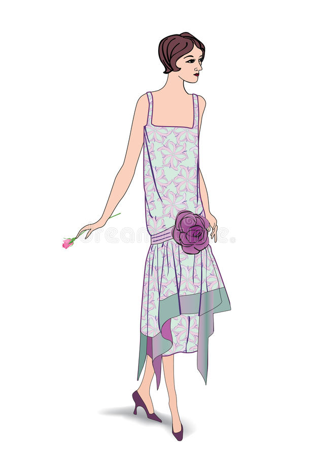 Rétro agrafe Art Girl en 1930 s FashionStyle illustration stock