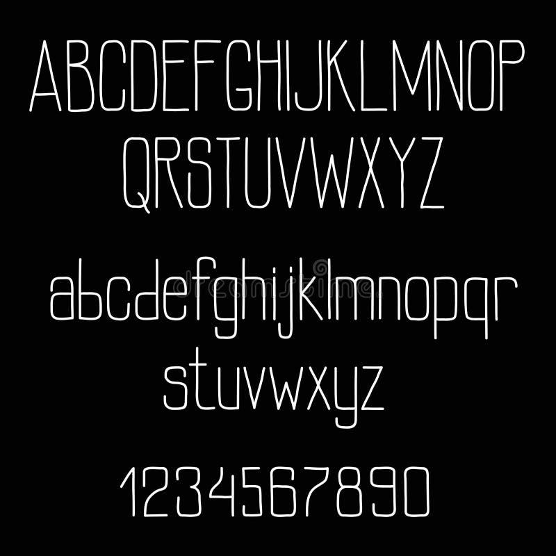 Rétro alphabet de police de craie sur le tableau noir illustration de vecteur