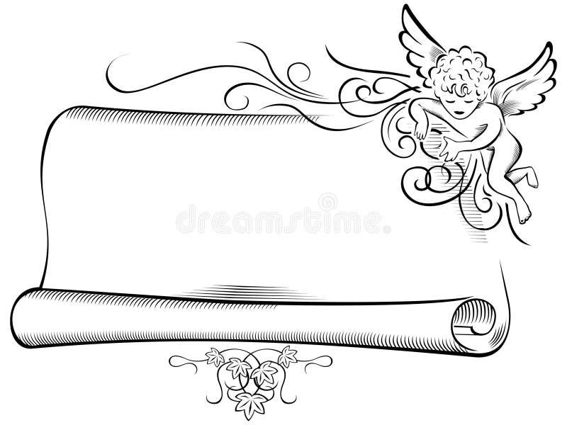 Rétro ange avec le défilement illustration de vecteur