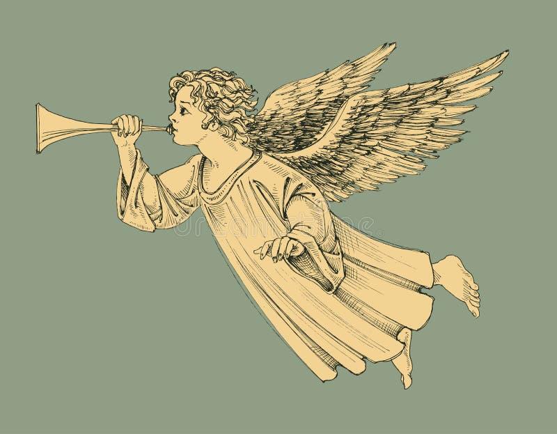 Rétro ange de Noël de style illustration stock