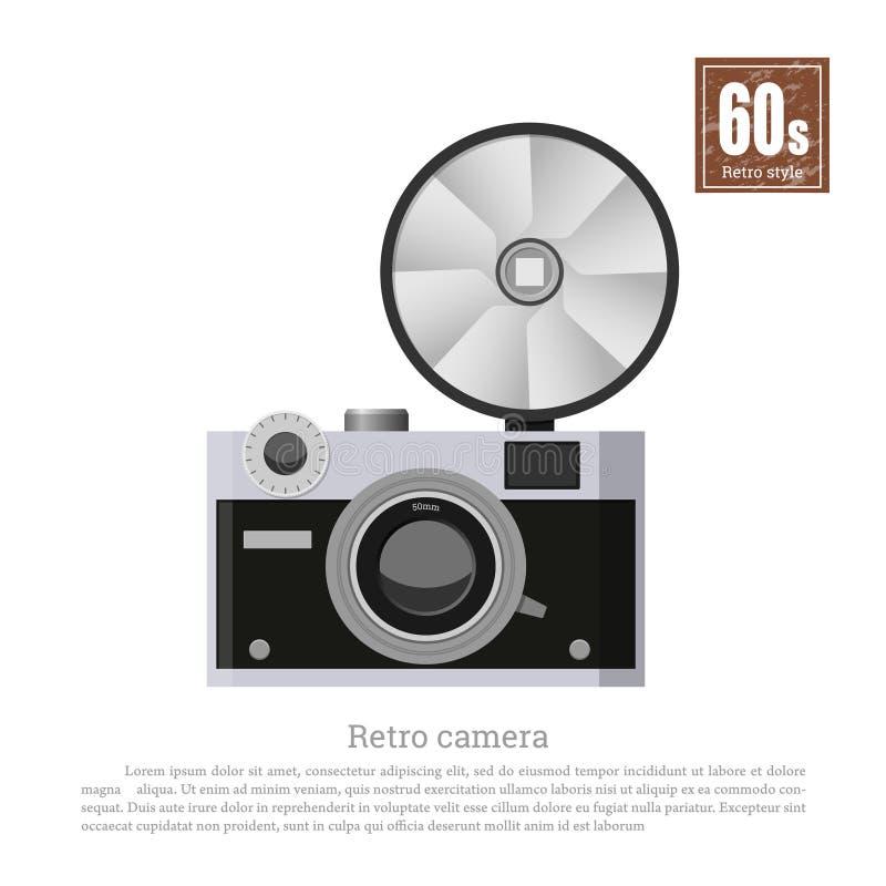 Rétro appareil-photo dans le style plat sur le fond blanc Équipement de photographe Technologies de 60s Photocamera de gris de vi illustration de vecteur