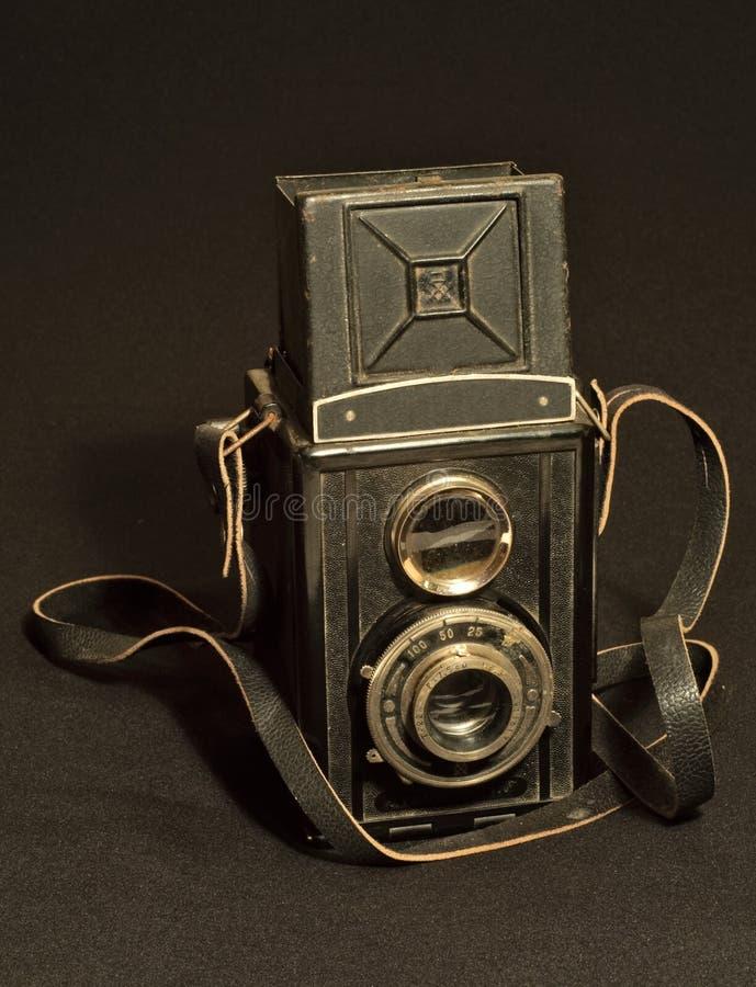 Rétro appareil-photo de photo de TLR (réflexe de Jumeau-lentille) photo stock