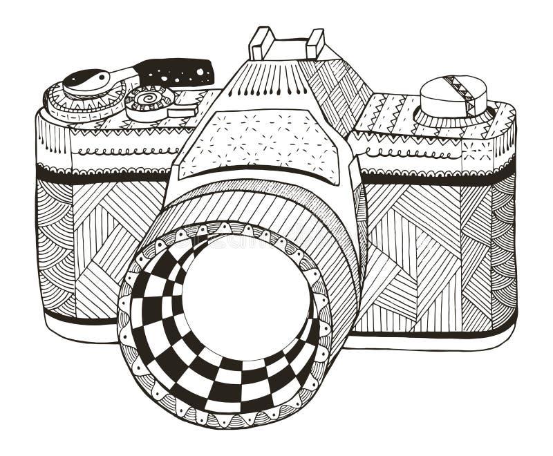Rétro appareil-photo de photo Zentangle a stylisé Appareil-photo du cru 35mm SLR freehand illustration stock