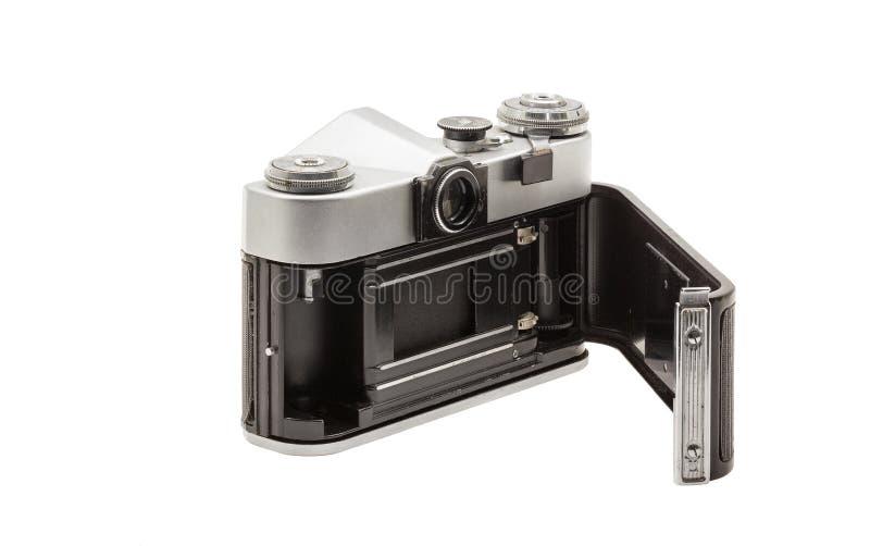Rétro appareil-photo soviétique de film d'isolement sur le fond blanc Appareil-photo réflexe soviétique Ouvert arrière image stock