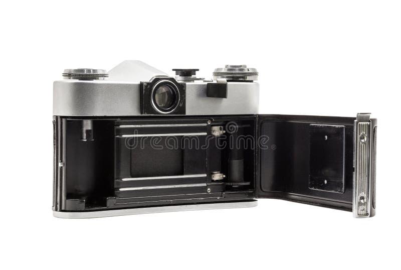 Rétro appareil-photo soviétique de film d'isolement sur le fond blanc Appareil-photo réflexe soviétique Ouvert arrière photographie stock