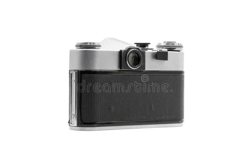 Rétro appareil-photo soviétique de film d'isolement sur le fond blanc Appareil-photo réflexe soviétique Vue d'arrière image stock