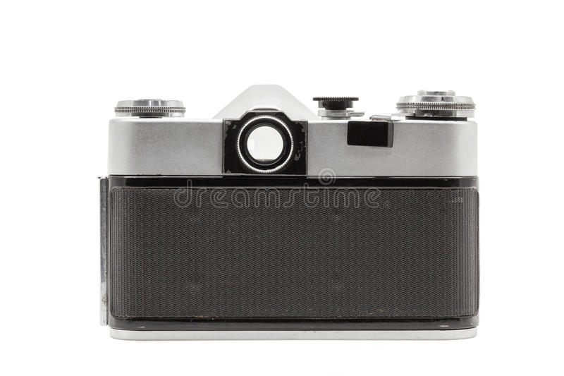 Rétro appareil-photo soviétique de film d'isolement sur le fond blanc Appareil-photo réflexe soviétique Vue d'arrière photos libres de droits