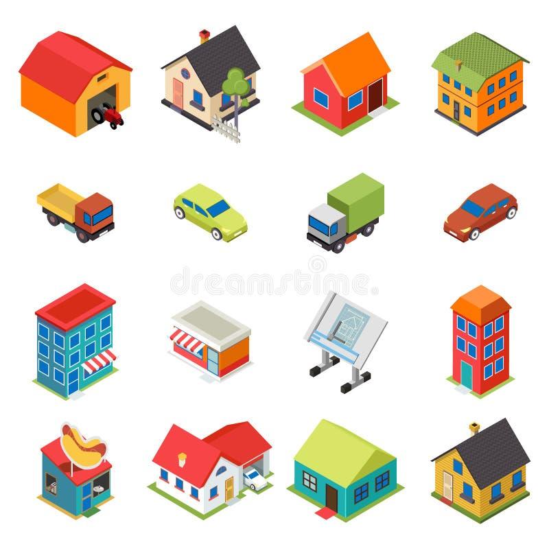 Rétro appartement de Chambre de Real Estate d'icônes isométriques de voiture illustration stock