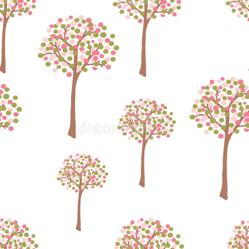 Rétro arbres de source illustration libre de droits