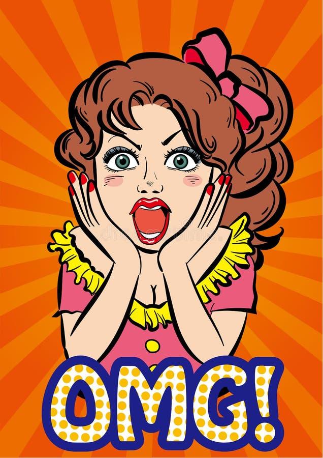 Rétro art de bruit de bande dessinée - fille - OMG illustration stock