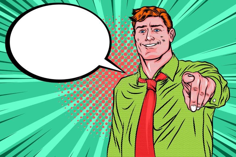 Rétro art de bruit Un homme dirigeant le doigt avant avec le sourire de gain illustration stock