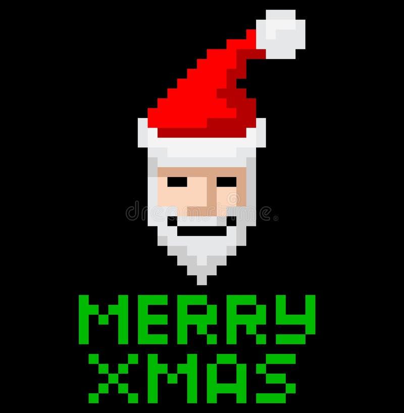 Rétro art Santa de pixel d'arcade illustration de vecteur