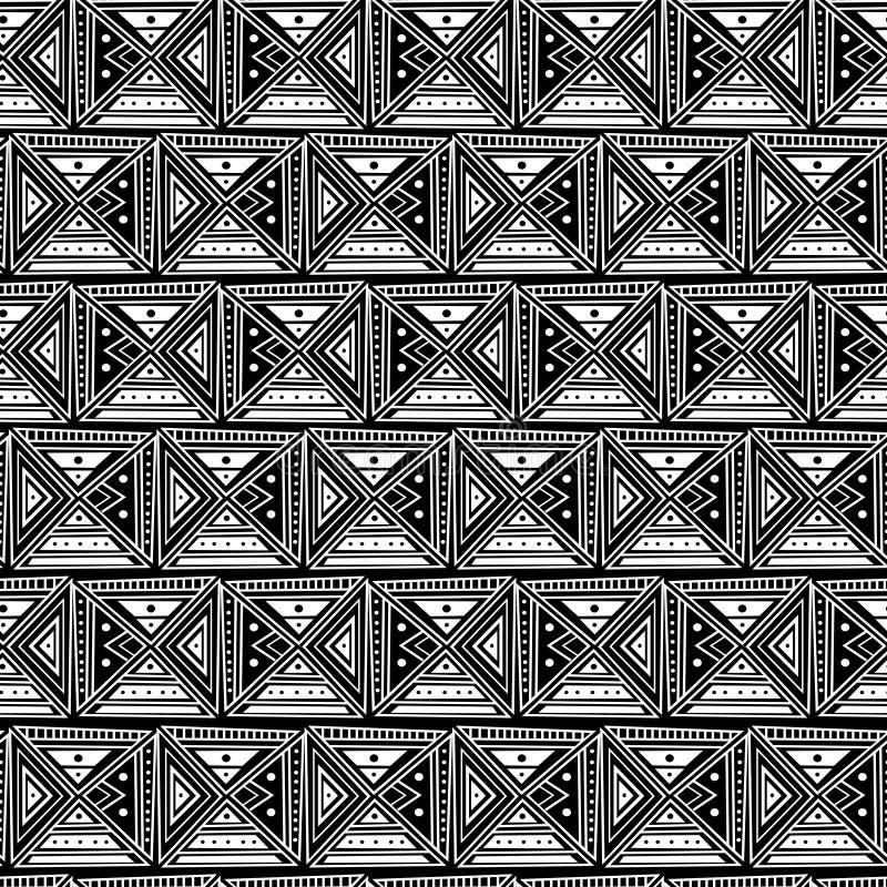 Rétro Asiatique de modèle de cru noir et blanc carré tiré par la main tribal d'ornement, Africain, Tunisien, dessin sans couture  illustration de vecteur