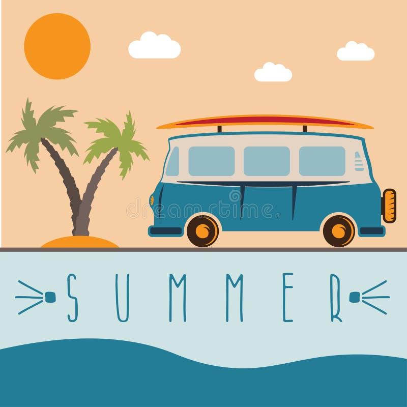 Rétro autobus avec la conception de vecteur de planche de surf illustration de vecteur
