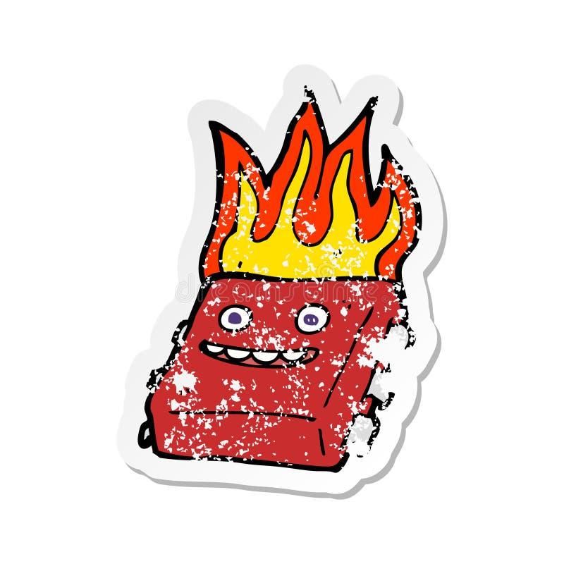 r?tro autocollant afflig? d'une puce d'un rouge ardent de bande dessin?e illustration stock