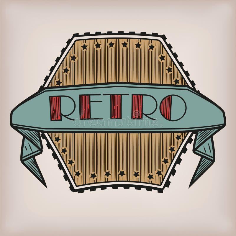 Rétro autocollant dénommé de logotype de logo de style ancien de vintage avec l'inscri illustration libre de droits