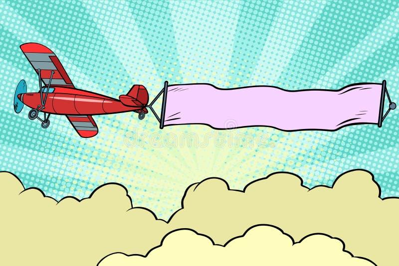 Rétro avion avec un ruban dans le ciel illustration de vecteur