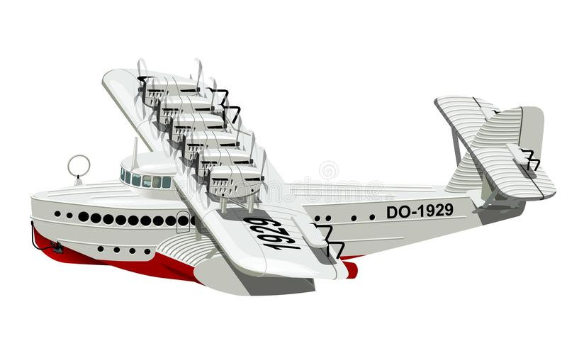 Rétro avion de mer de bande dessinée illustration stock