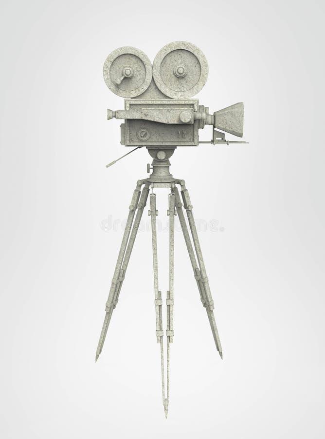 Rétro bâti de trépied d'appareil-photo de film de vintage d'isolement sur le rendu de haute qualité blanc illustration stock