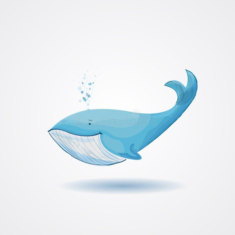 rétro baleine de bande dessinée illustration libre de droits