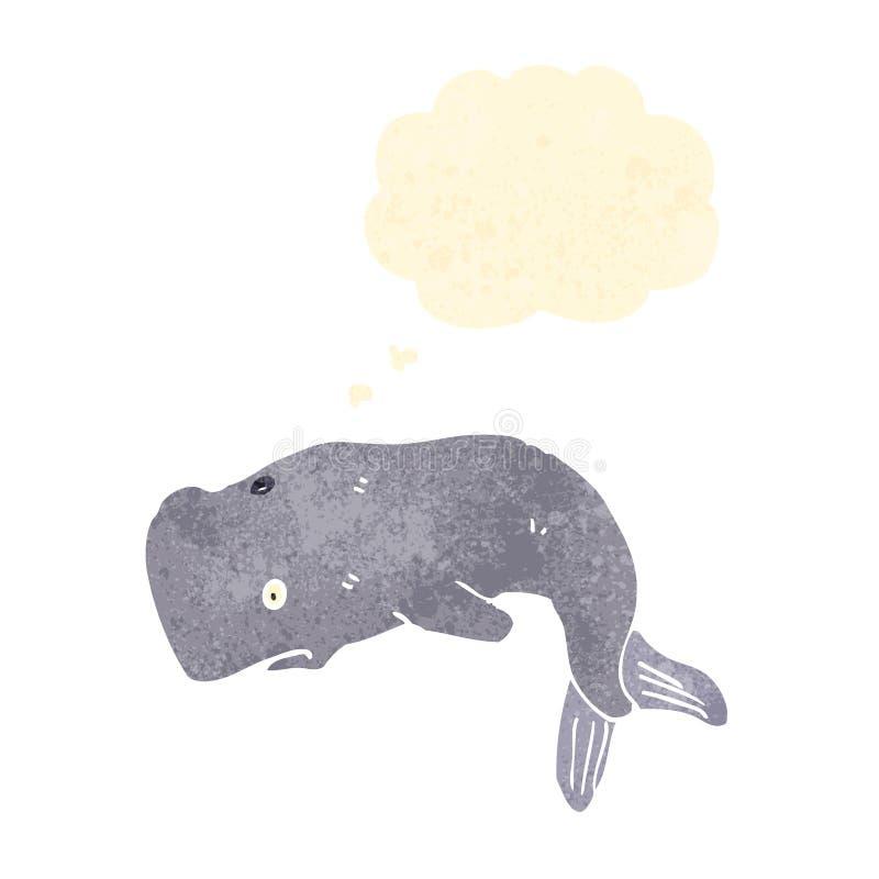 rétro baleine de bande dessinée avec la bulle de pensée illustration de vecteur