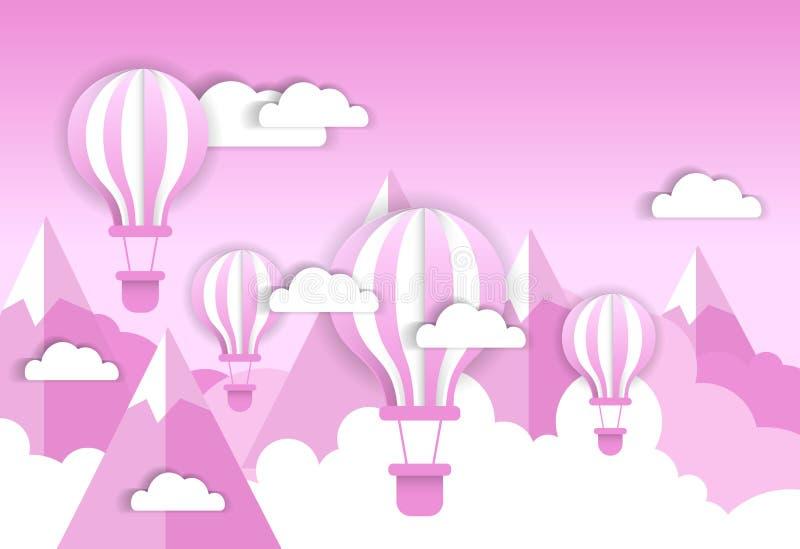 Rétro ballon à air au-dessus de fond rose Valentine Day Concept de nuages et de montagnes illustration de vecteur