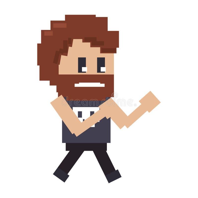 Rétro bande dessinée pixelated de gars dur de jeu vidéo par caractère illustration stock