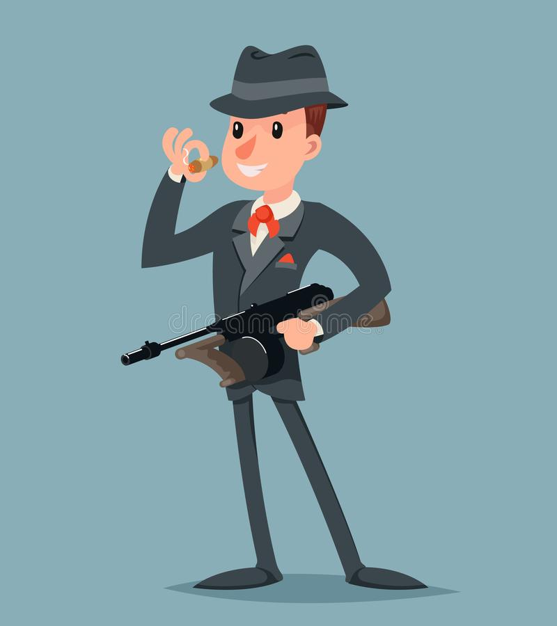 Rétro bandit avec le caractère de criminel de voyou de mitraillette illustration de vecteur