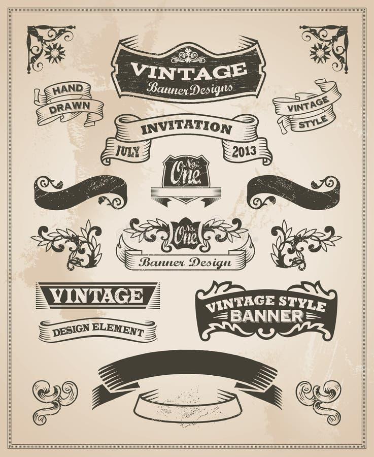 Rétro bannière de vintage et ensemble de ruban illustration libre de droits