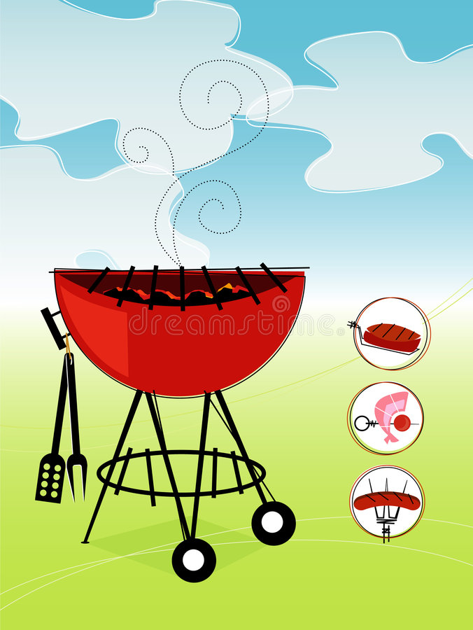 Rétro barbecue (vecteur) illustration de vecteur