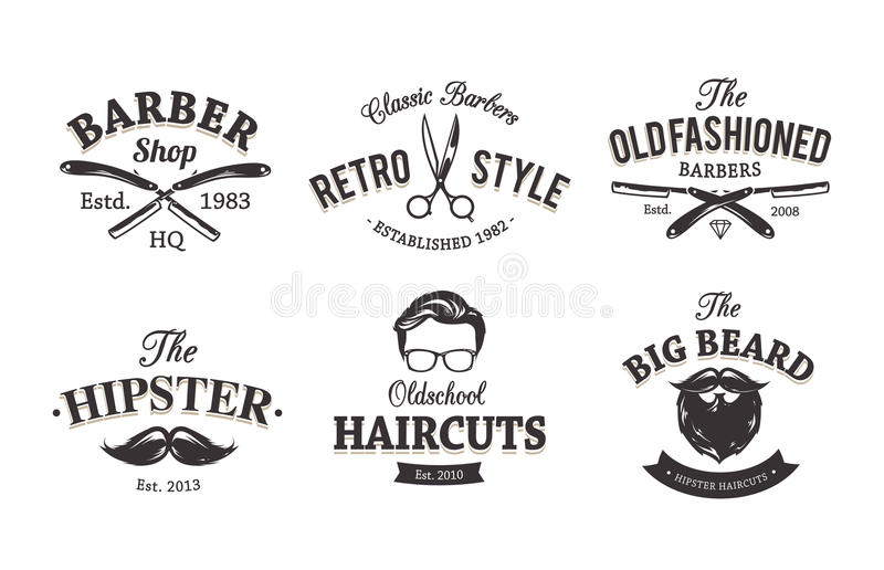 Rétro Barber Emblems illustration libre de droits