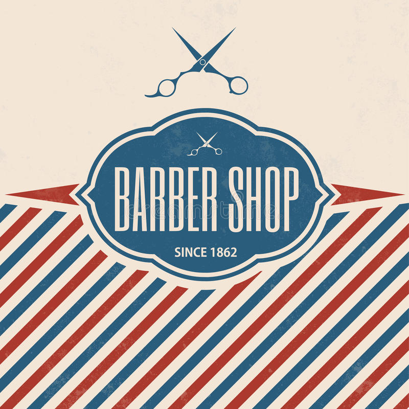 Rétro Barber Shop Vintage Template illustration stock