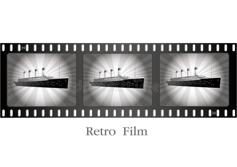 Rétro bateau sur le film illustration de vecteur
