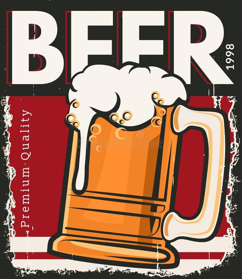 Rétro bière d'affiche illustration stock