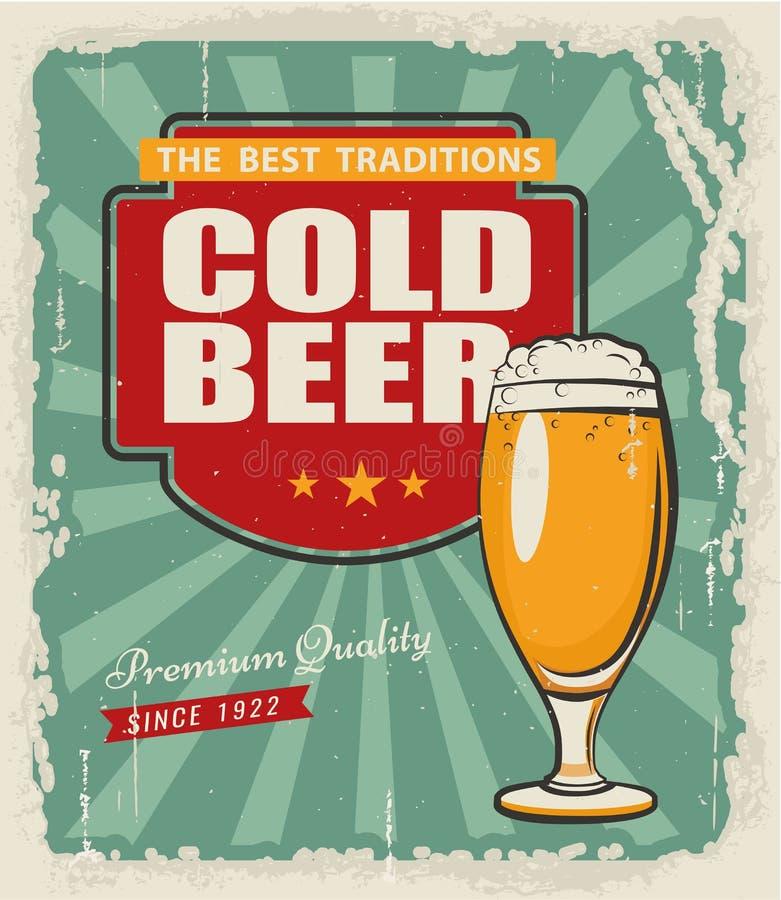 Rétro bière d'affiche illustration de vecteur