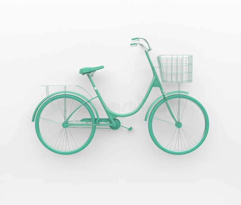 Rétro bicyclette simple peinte en turquoise monochrome D'isolement sur le fond blanc Concept abstrait 3d rendent illustration stock