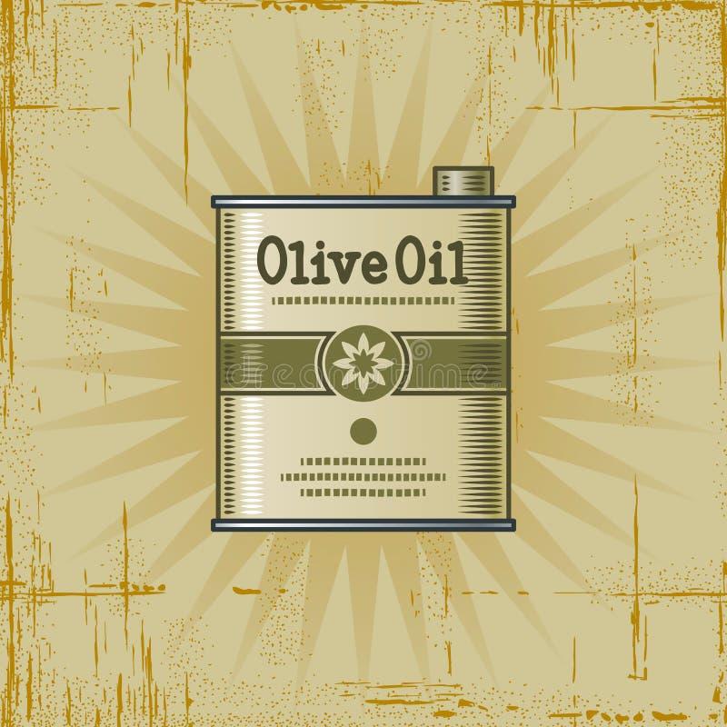 Rétro bidon d'huile d'olive illustration de vecteur