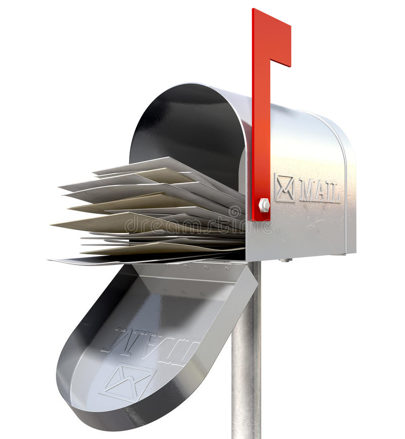 Rétro boîte aux lettres en métal de vieille école complètement illustration stock