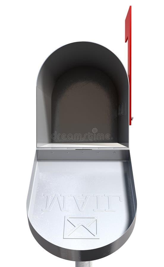 Rétro boîte aux lettres en métal de vieille école ouverte illustration stock