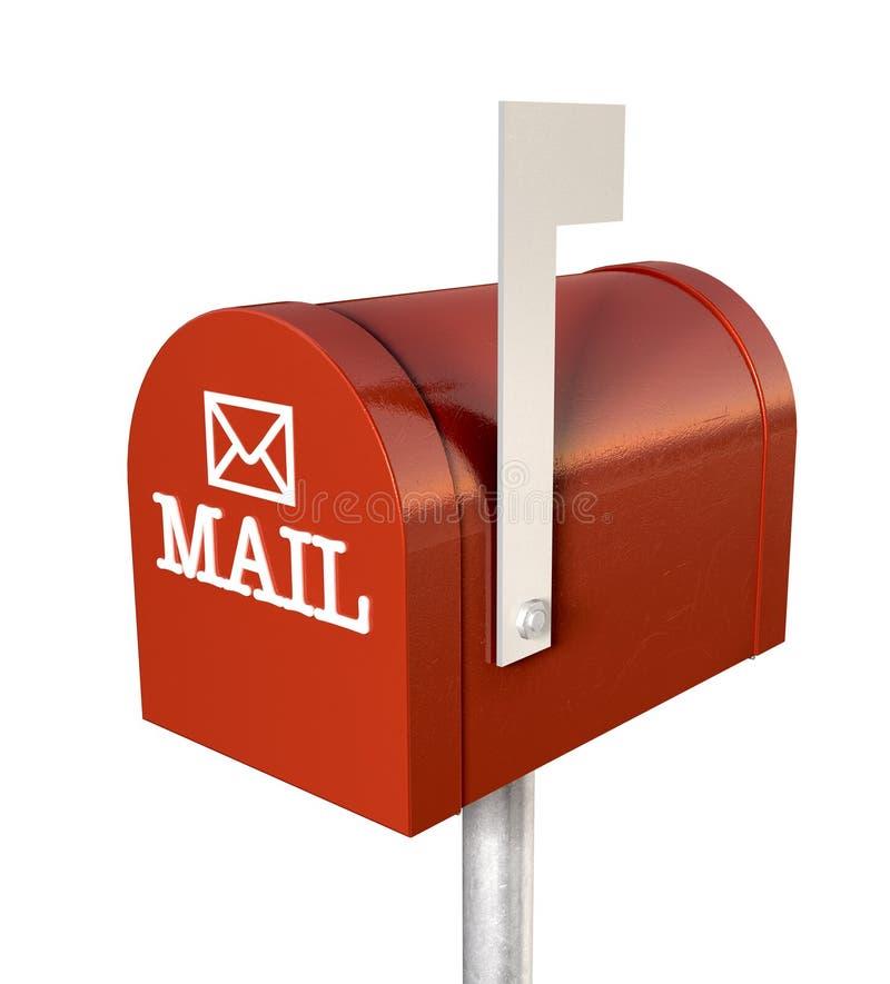 Rétro boîte aux lettres rouge de vieille école illustration stock
