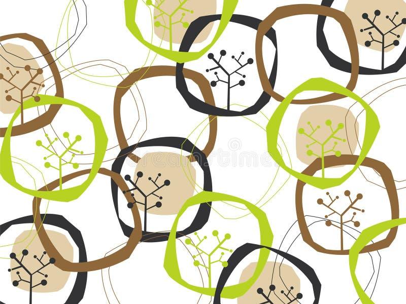 Rétro boucles et arbres de la terre illustration libre de droits